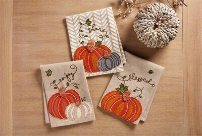 Pumpkin Embroidered Kitchen Tea Towel