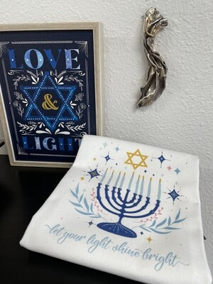Menorah Tea Towel Let Your Light Shine Bright