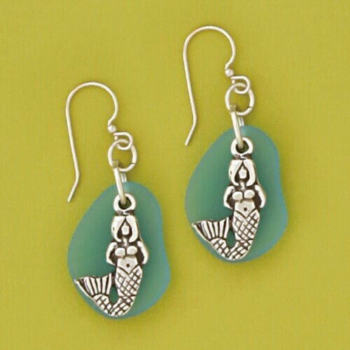 Pewter Sea Glass Earring