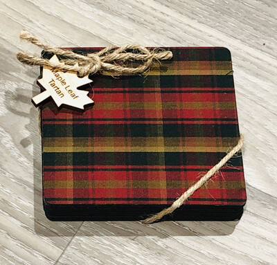 Salt Air Maple Tartan Coaster Set