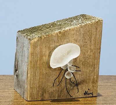 Susan King Jellyfish Sea Glass Block