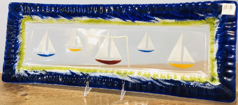 Blue Sailboat Platter, 9x24 - Kiln Art