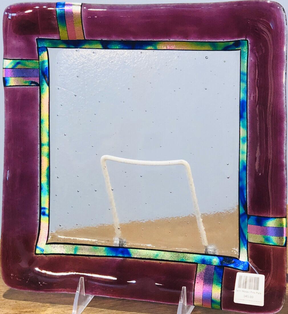 Semi Mosaic Pink Plate