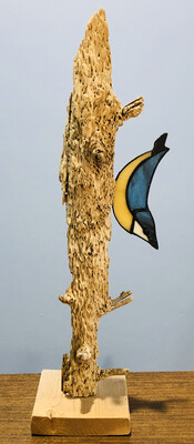 Stained Glass Nuthatch on Driftwood - Lynette Richards