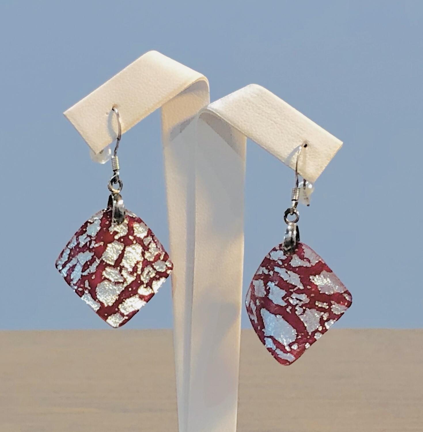 Red & White Curved Earring - Carma's Glass