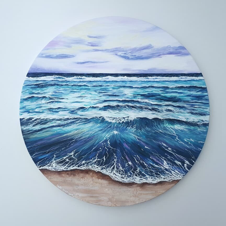 Lavender Tide, Round Canvas