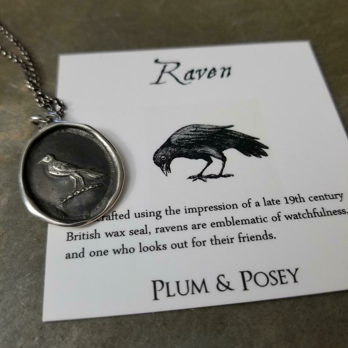 Raven Wax Seal Pendant - 105