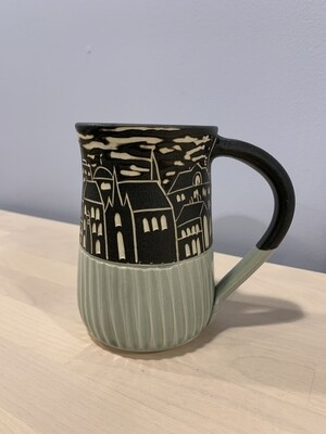 Blue Fluted Halifax Skyline Mug