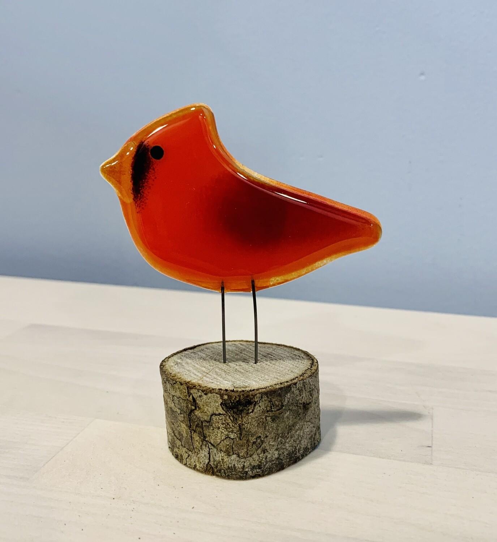 Glass Cardinal (Male) on Perch