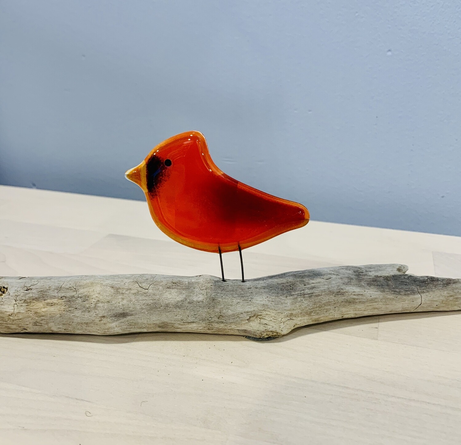 Glass Cardinal (Male) on Perch