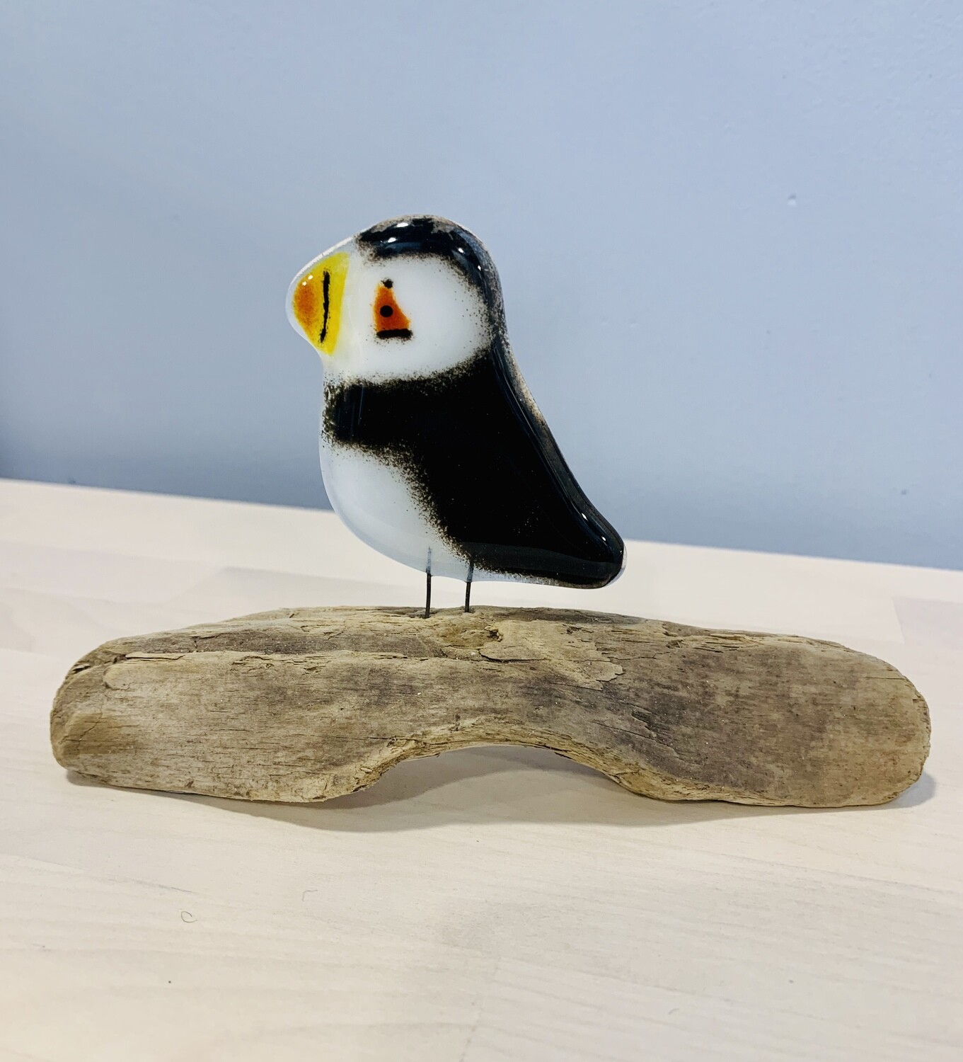 Glass Puffin on Perch