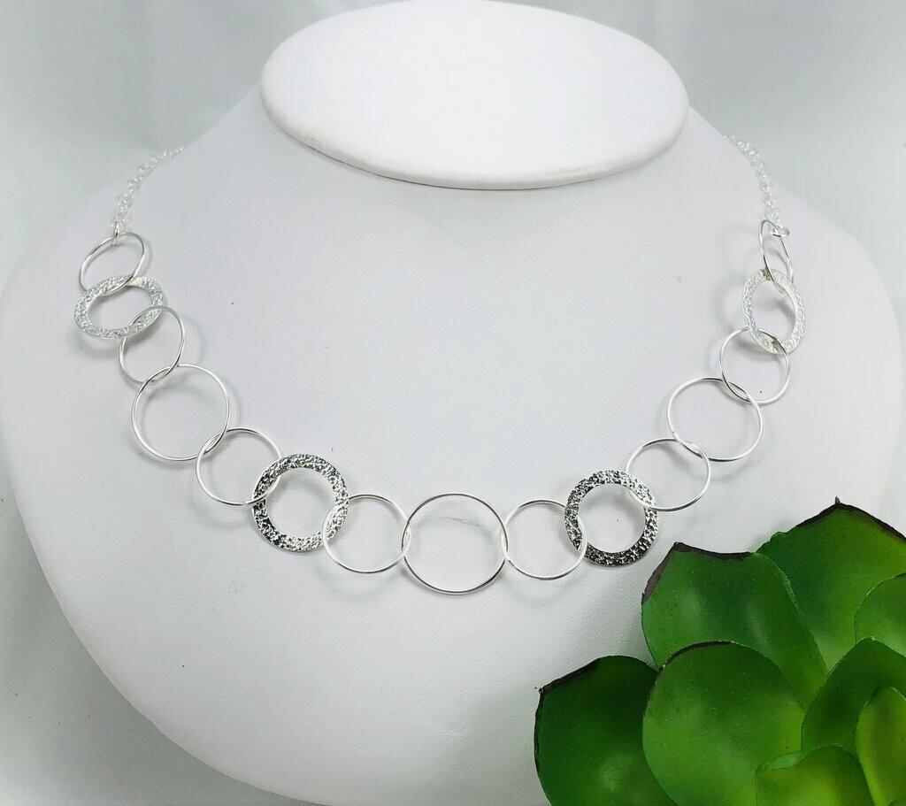"Multi Silver Circles 18"" Necklace - Shy Giraffe"