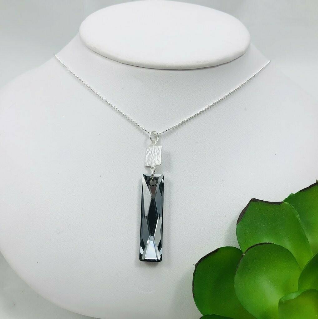 Black Emerald Cut Swarovski Necklace - Shy Giraffe