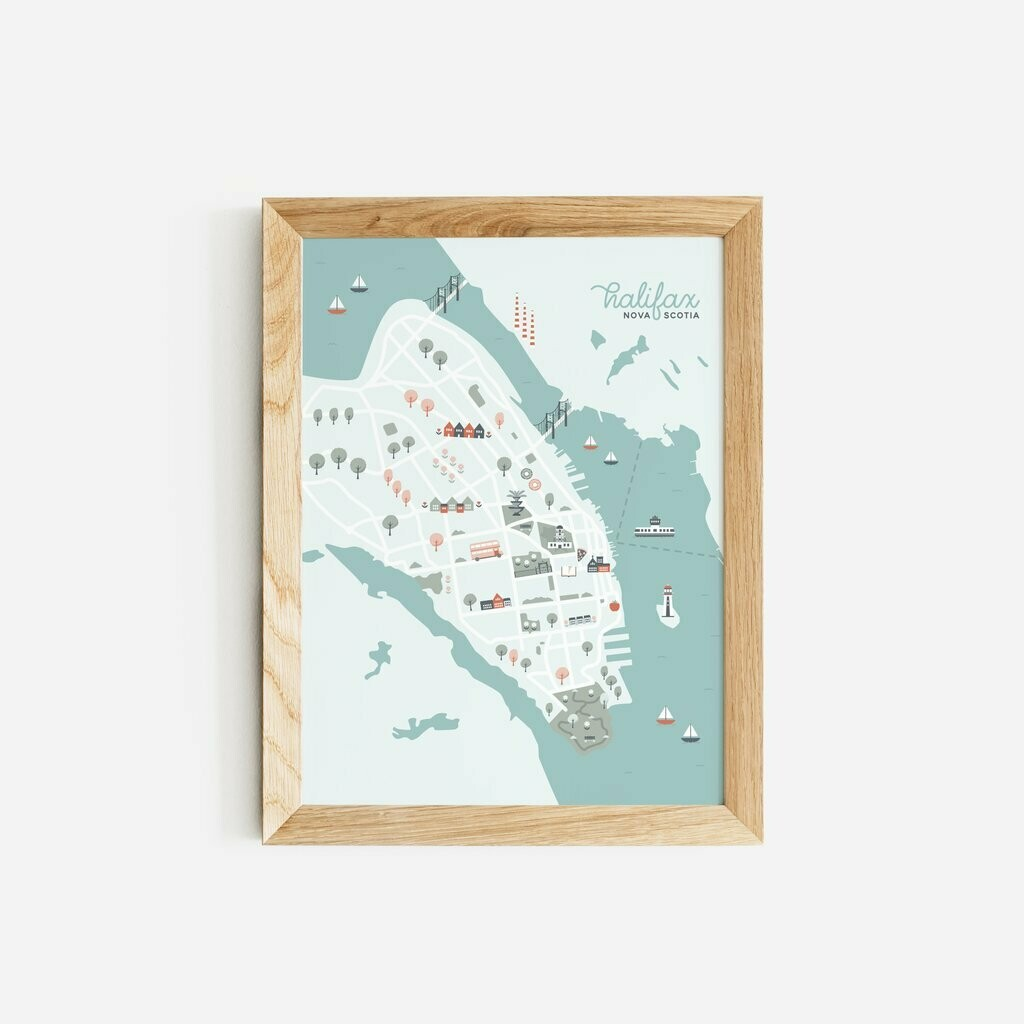 Halifax Map Print Paper Hearts