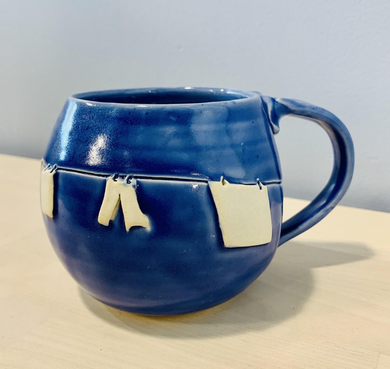 Dark Blue Clothesline Mug GA