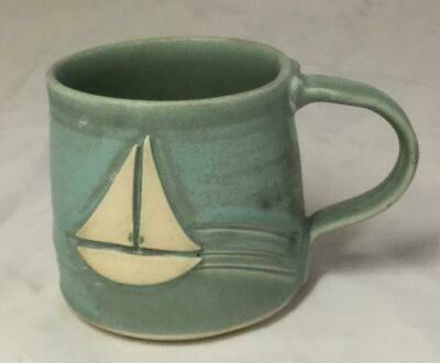 Aqua Sailboat Mug GA