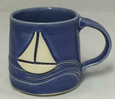Dark Blue Sailboat Mug GA