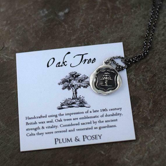 165-Oak Tree Wax Seal Pendant