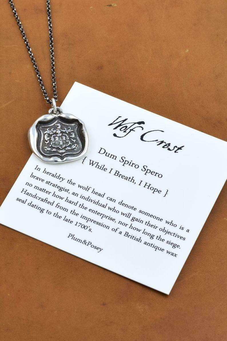 198-Wolf Crest Wax Seal Pendant