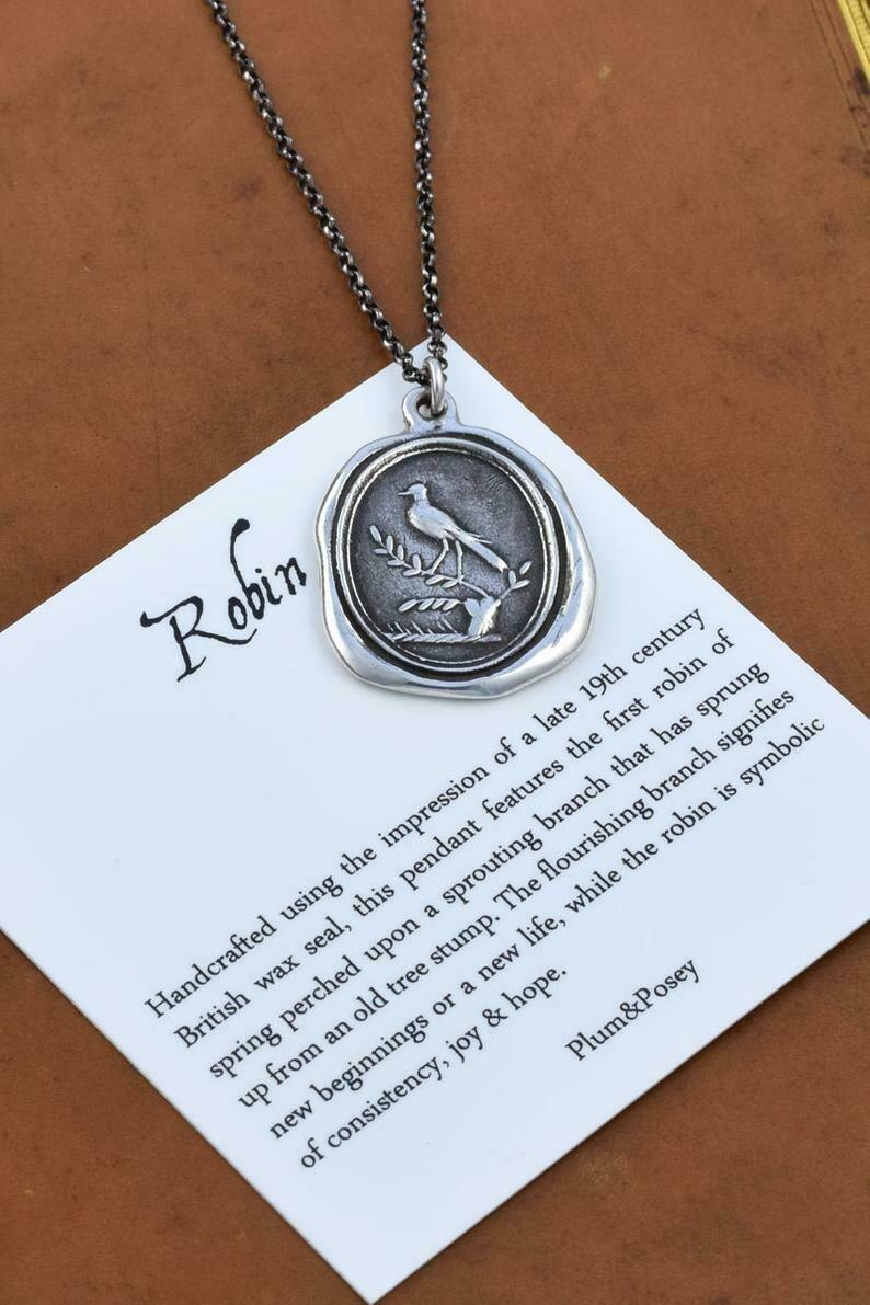 174 - Plum & Posey Robin Wax Seal Pendant