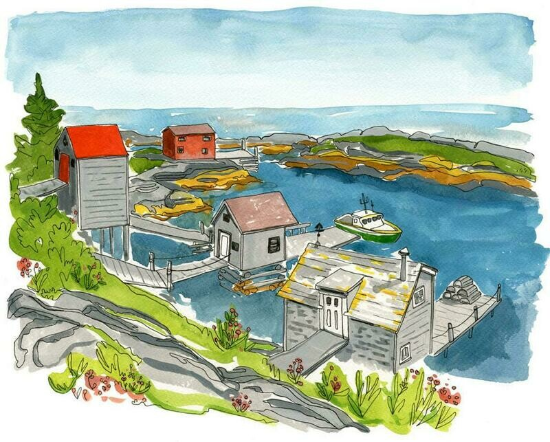 Kat Frick Miller Print- Fishing Shacks Blue Rocks