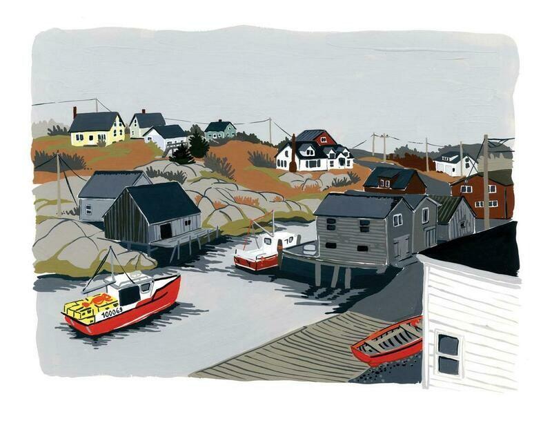Kat Frick Miller Print- Lobster Boat Peggy's Cove