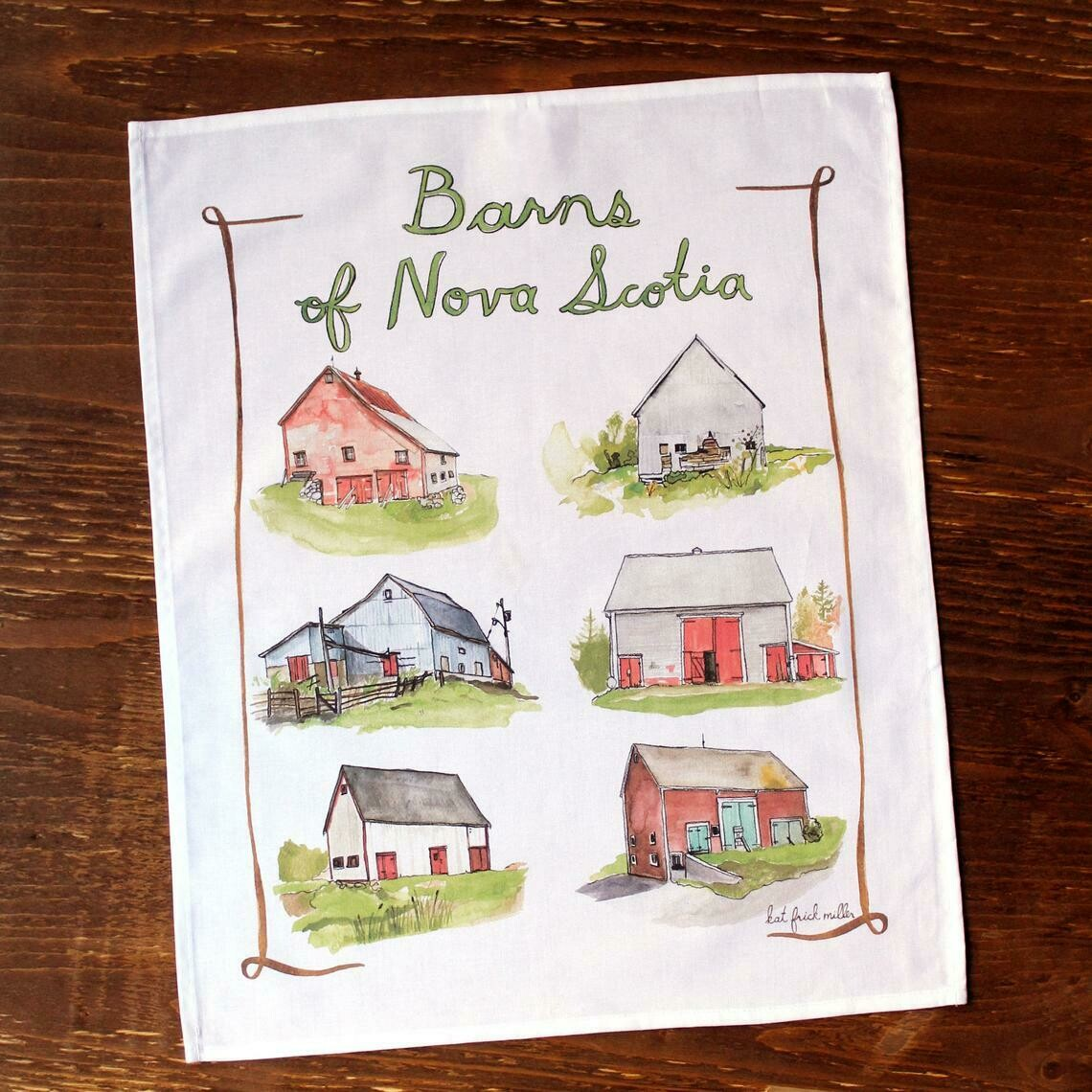 Kat Frick Miller Tea Towel- Barns of NS