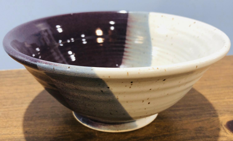 White & Purple Medium Bowl - Alicia Kate
