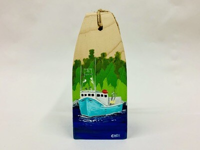 Blue Fishing Boat with Trees Buoy - Care Garrison
