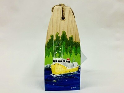 Yellow Fishing Boat with Trees Buoy - Care Garrison