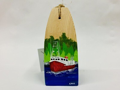 Red Fishing Boat with Trees Buoy - Care Garrison