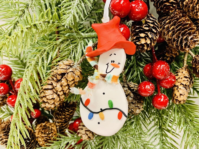 Roberta Snowman w Lights Ornament