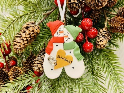 Roberta Engaged Snowman Ornament