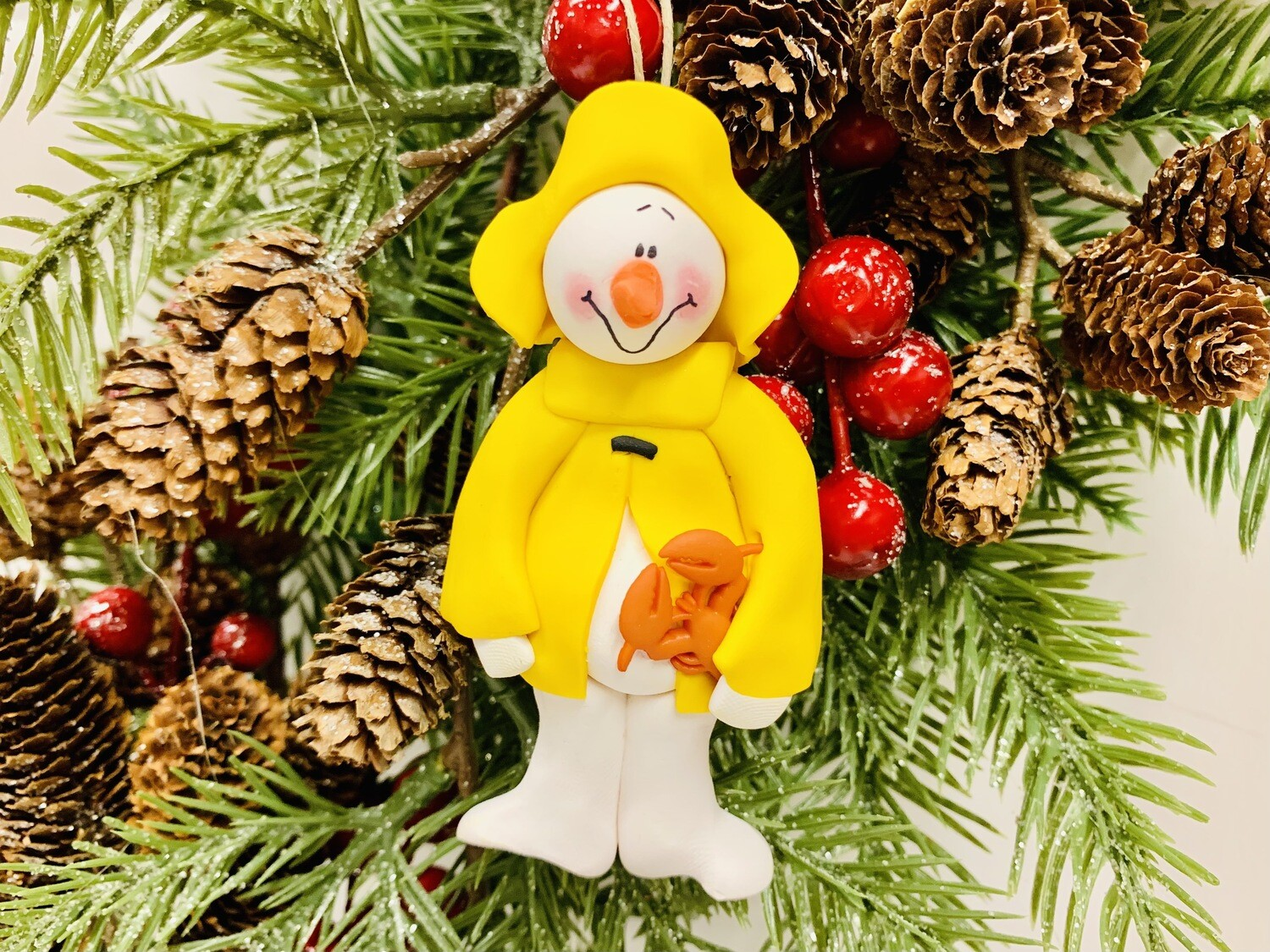 Roberta Snowman Fisherman Ornament