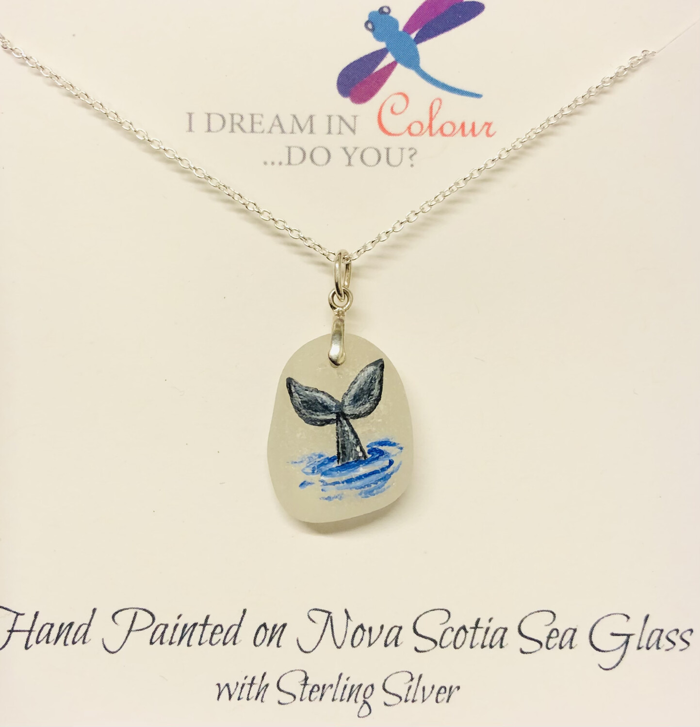 Painted Sea Glass, Whale Tail - I Dream in Colour