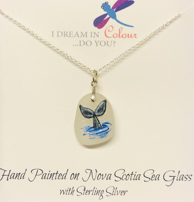Painted Sea Glass, Whale Tail