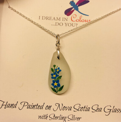 Painted Sea Glass, Forget Me Not