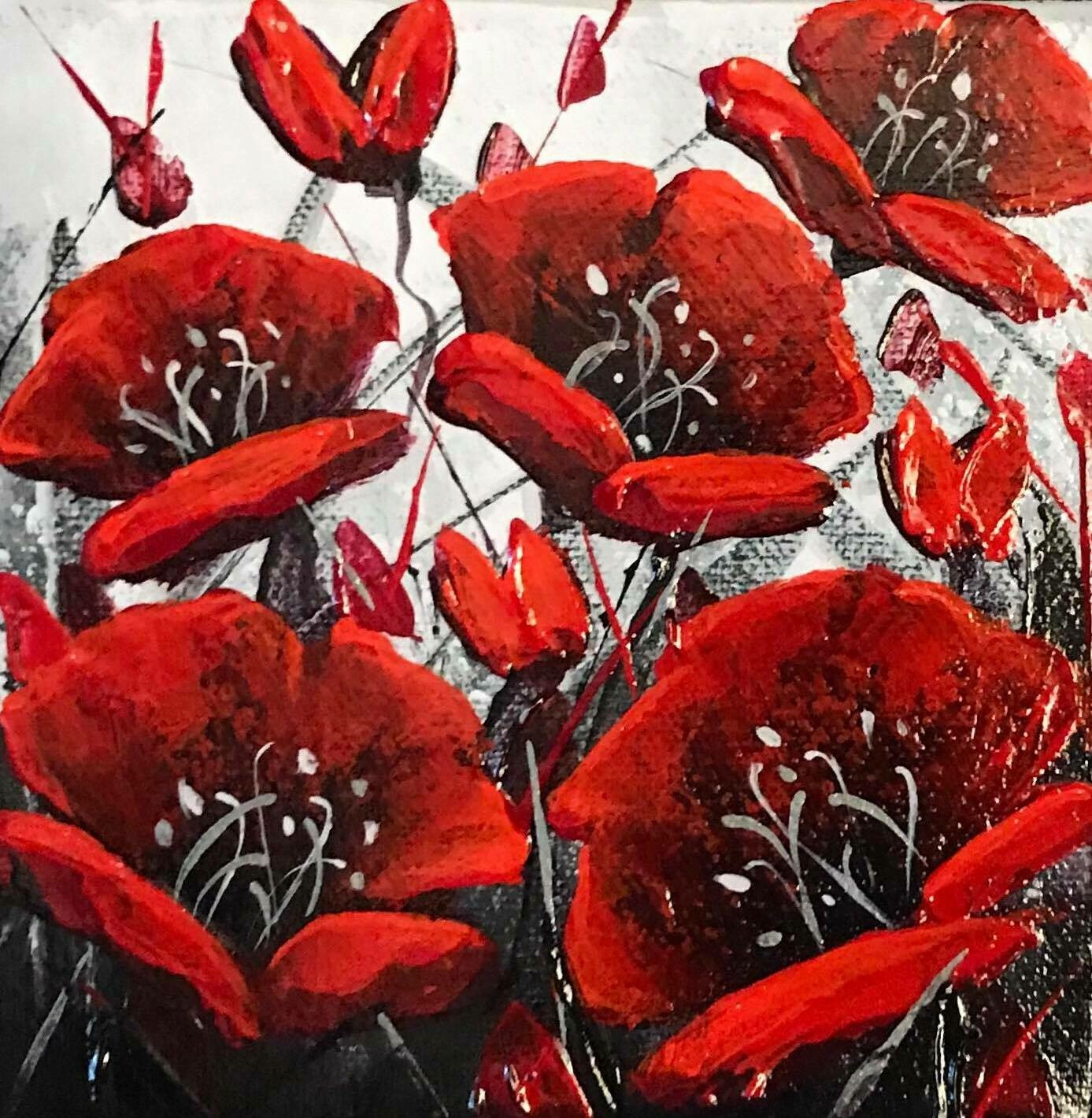 Happy - Winter Poppies 6x6
