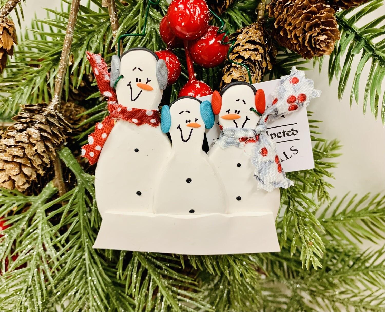 Roberta Snowman Family 3 Ornament