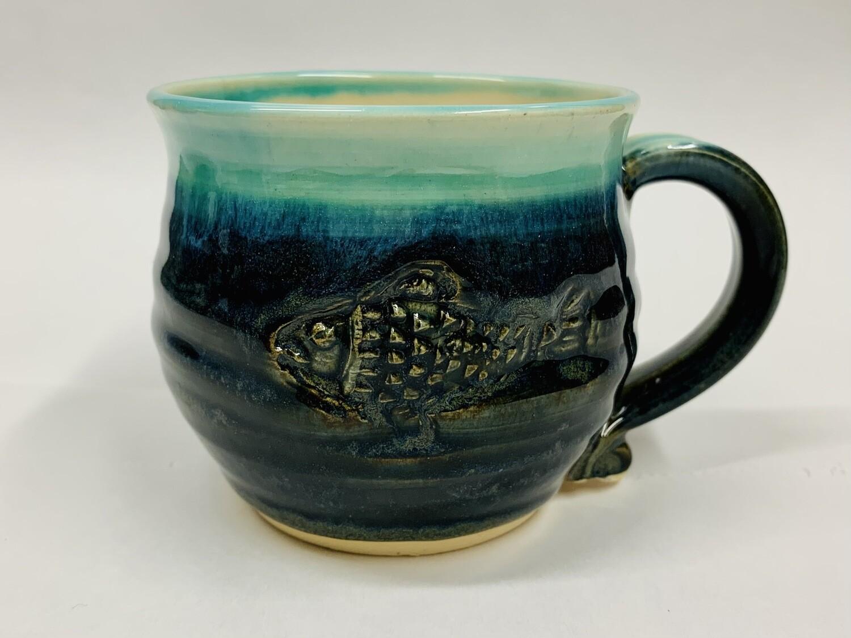 Navy Fish Mug, Short