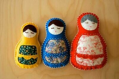 Three Matryoshka Dolls Sewing Kit