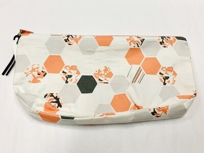 Grey & Coral Hexagons Zippered Pouch - Ella's Cottage