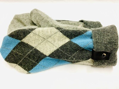 Grey & Light Blue Argyle, Medium - Mary's Mittens