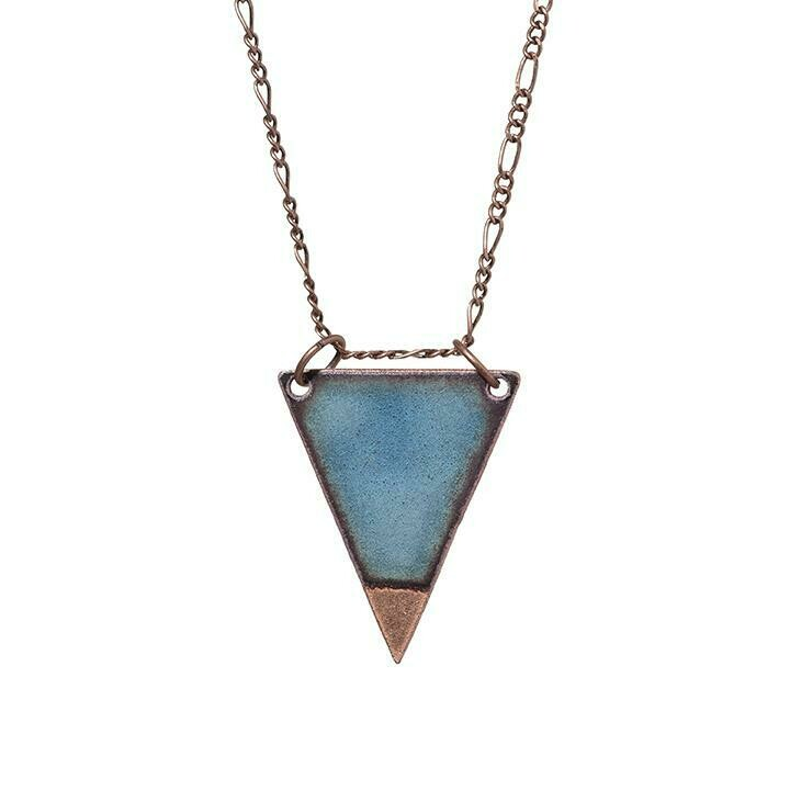 Dipped Water Blue Triangle Necklace - Aflame