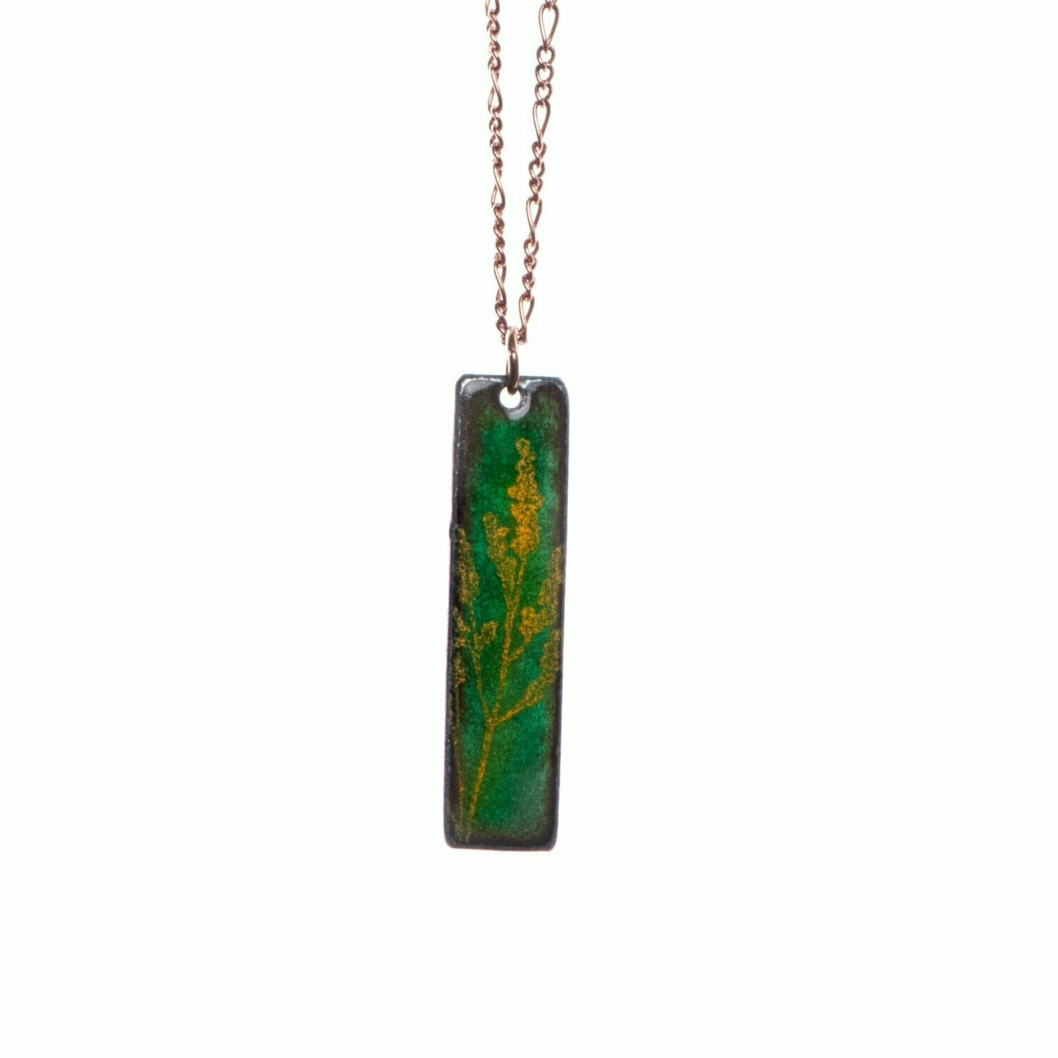 Green & Yellow Goldenrod Necklace - Aflame