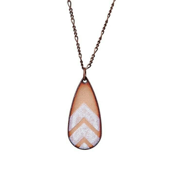 Copper & White Chevron Drop Necklace - Aflame