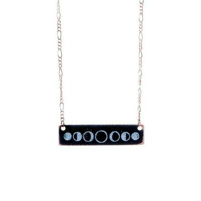 Black & White Moon Phases Necklace - Aflame
