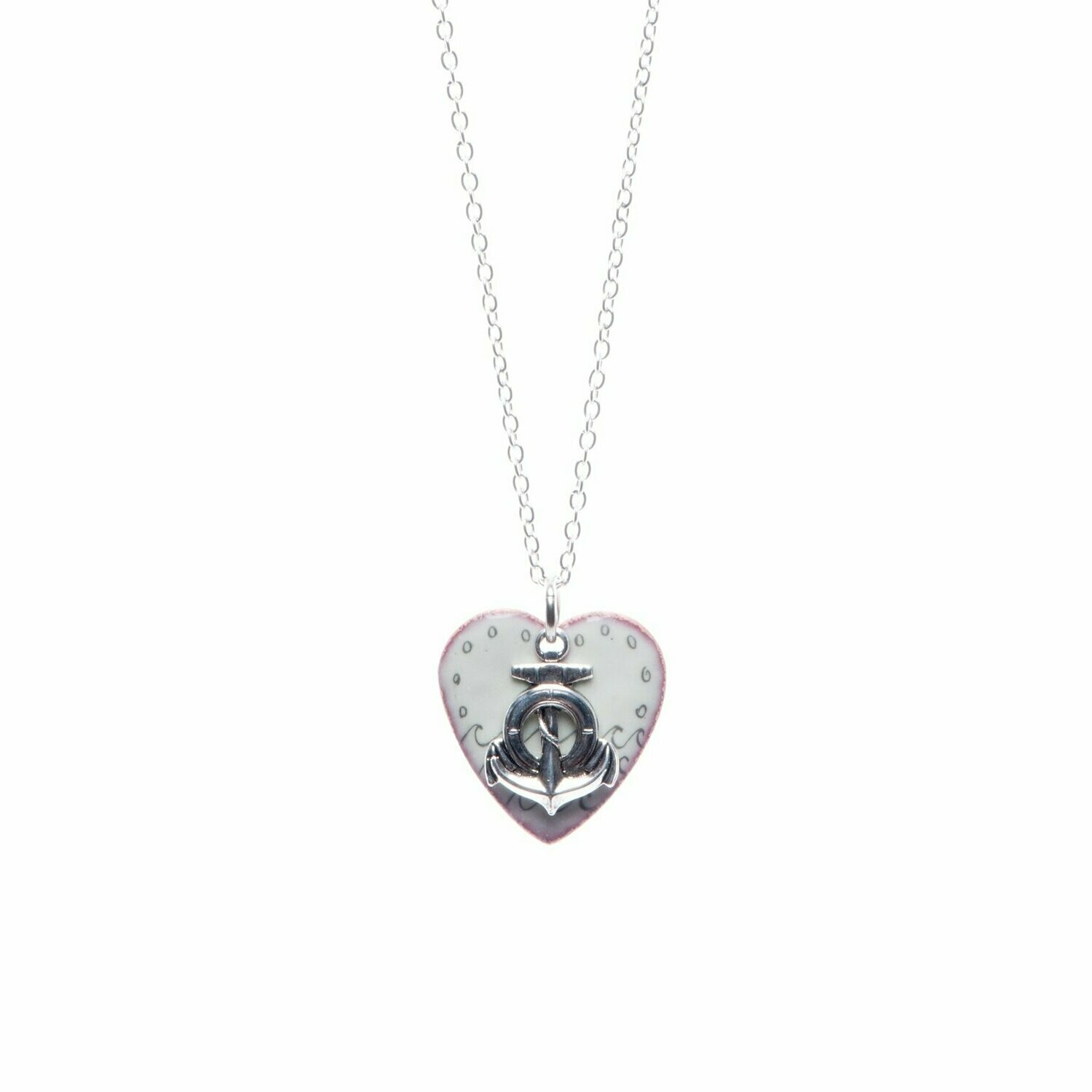 Mint Waves & Anchor Heart Necklace - Aflame