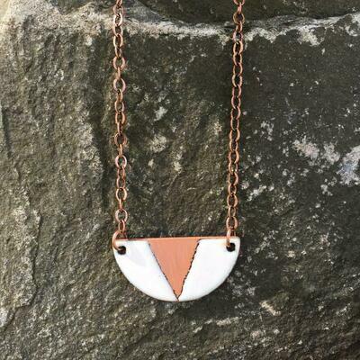 Mini White Geo Half-Moon Necklace - Aflame
