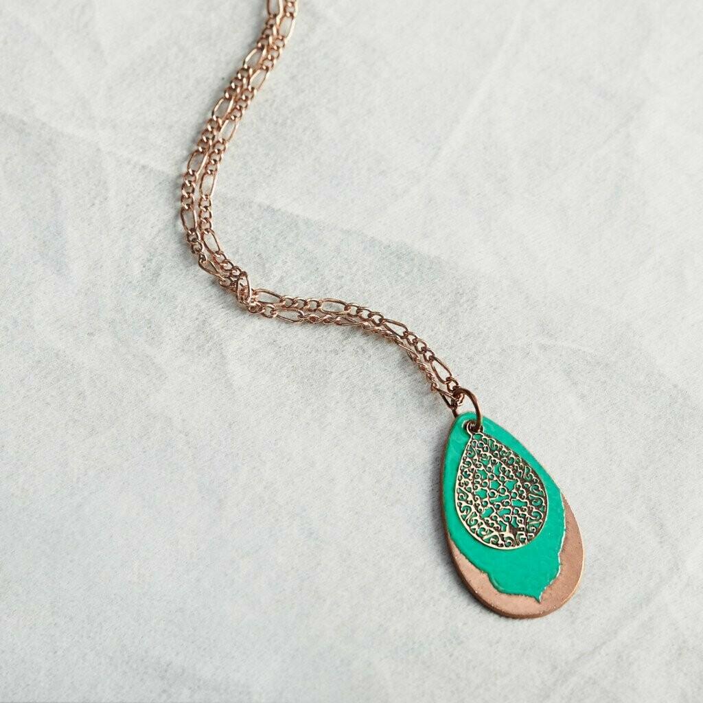 Teal Filigree Petal Necklace - Aflame